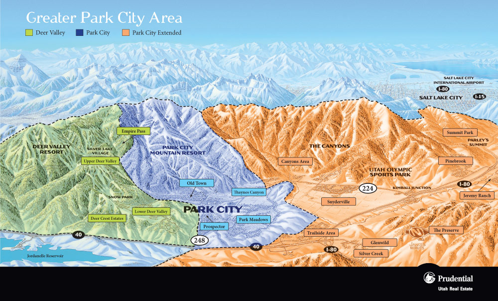 A map of the greater park city area, park city map, park city area map